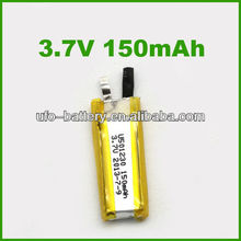 3.7v rechargeable batery cell for vedio pen 150mAh li-ion battery