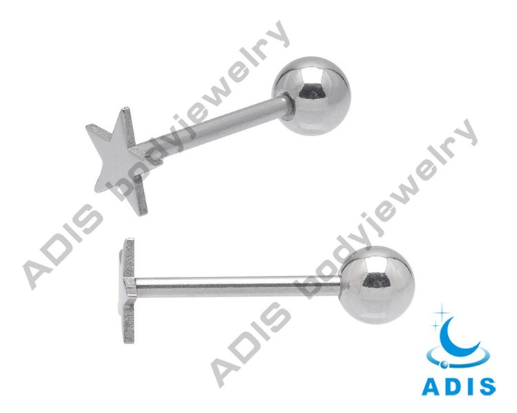 Dubai Gold Jewelry Set Star Shape Tongue Barbell With 3mm Ball (3)