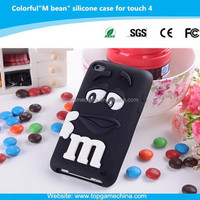 Minion 3d silicone case for iPod touch 4 Rainbow bean funny case