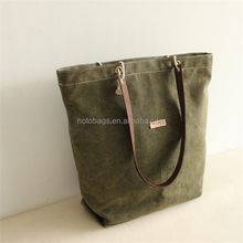 OEM service blank leather handle tote shopping bags wholesale