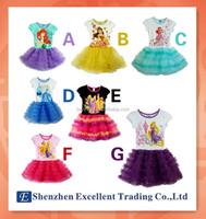2014 Tutu Dress/ Summer princess Cinderella & Ariel & Belle print girls dress