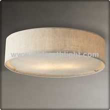 UL/CUL Listed Hotel Natural Linen Ceiling Lamp With Frosted White Acrylic Diffuser C30194
