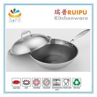 chinese 32 cm big korean king induction wok range stainless steel wok pan
