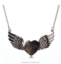 fashion women wear ancient style wing and love heart necklace with love letter