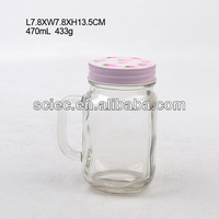 hot sale glass jam jar with handle and metal lid