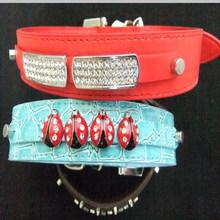 Red Matte & Blue Crocodile DIY PU Leather Dog Collars Pet Necklets with Rhinestone 10mm Long Bend Block & Ladybug Slide Charms