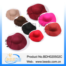 New products 2015 red women's wool felt wide brim floppy hat for ladies