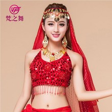 S-3007# American sexy beaded five flowers sequins belly dance top