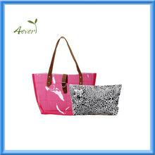 2015 Clear PVC Transparent Carrier Beach Bag+Cheetah Print Cosmetic Tote