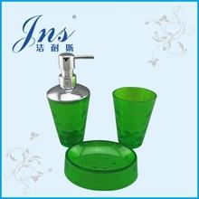 Green Plastic Bathroom Set With Soap Dispenser Pump