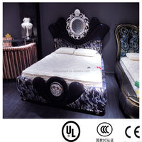 luxury antique reproduction bedroom furniture / solid wood carved bed frame / french bed DXY-28#
