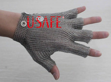 chain mail metal meat cutting five finger gloves