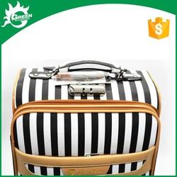 eminent PU travel luggag black and white stripes