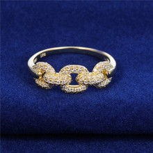 Gold Ring Designs For Women With Aaa Zircon Mirco Pave Ring Gold PlatingFR194A-58