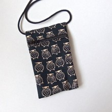 Pouch Zip Bag OWL Black Fabric, Great for Walkers, markets, travel.Small Japanese fabric purse. Hoot owl cross body bag