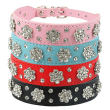 Soft leather dog collar bling flowers studded dog cat collars