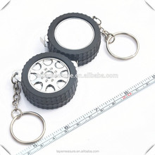 Advertising gift custom china cheap keychain car tyre with mini steel tape measure