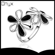 Venta en línea hot plata esterlina pintura anillo de la flor sin piedra