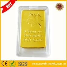 Fabricante de porcelana de la hoja de arce canadiense uno Troy OZ multa Replica barras dorado, Pure Gold Clad Bullion bares
