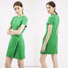 Fashion Woman Clothes Asymmetric Wrap Simple Shift Dress in Green Color Plain