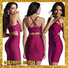 Wholesale printing Strap rayon red bandage dress