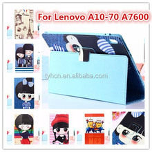 High Quality Cartoon PU Leather 10.1 inch Tablet Folio Case Cover for Lenovo a10-70 a7600
