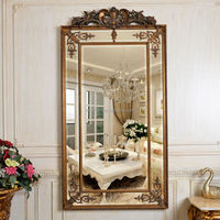PU143 Big Size Antique Gold Polyresin Dressing Room PU Wall Mirrors