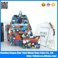 Lightweight new fashion girls long strap washed cotton print backpack with purse gift
