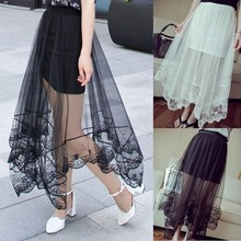 C86364A new fashion lady lace perspection skirts/hot sale korean style pretty summer gauze skirt