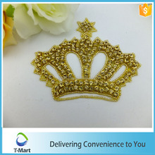 Decorative golden crown diamond iron on patch