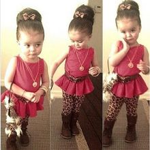 New Kids Girl's Sleeveless Peplum Tops Floral Brooch Decor And Leopard Leggings 2PCS girl dress set SV018913