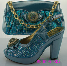 ME0095 sky blue wholesale high quality fashion shoes ladies italian matching shoes and bags for party