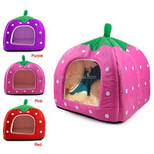 2015 Hot Selling Cat Dog Puppy Pet Warm Strawberry Bed House Tent For Winter
