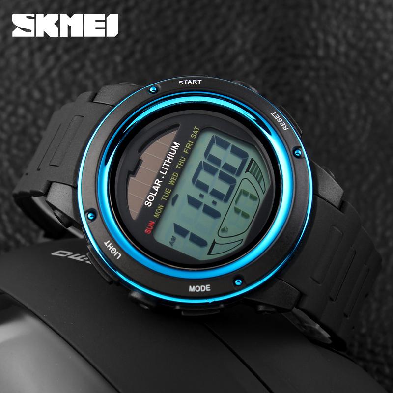 2016 unisex solar power wristwatch blue led digital watch paypal