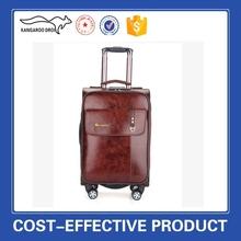 Double zipper PU leather suitcase 360-degree wheels luggage