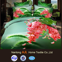 flower design bed sheet sale with 90gsm flalt screen printing 3d