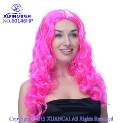 2015 New Arrival Wholesale cheap 100% polyester fiber hot pink long curly wigs