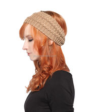 MOGAN Cute Garter Stitched Hair Head Band Knitted with Constrast Texture Stripes