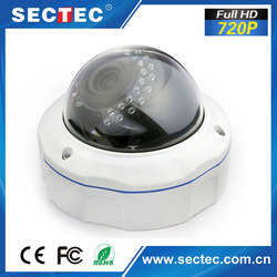 720P zoom and focus Lens Vadal-proof White Dome IP Camera