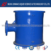 Flange level invert tee DN100 with bitumen coating