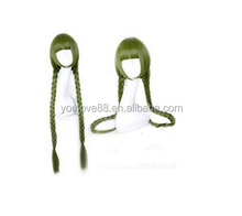 long green two braid wig with neat bang, long hair green wig, braid hair wig