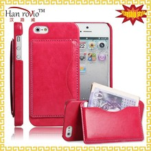 For iPhone 5S 5G R64 leather back phone case for iPhone 5S 5G Back cover with wallet slots with stand