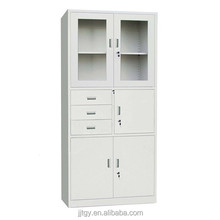 Storage filing cabinet K-D structure with glass door for store office or private documents cheaper cost