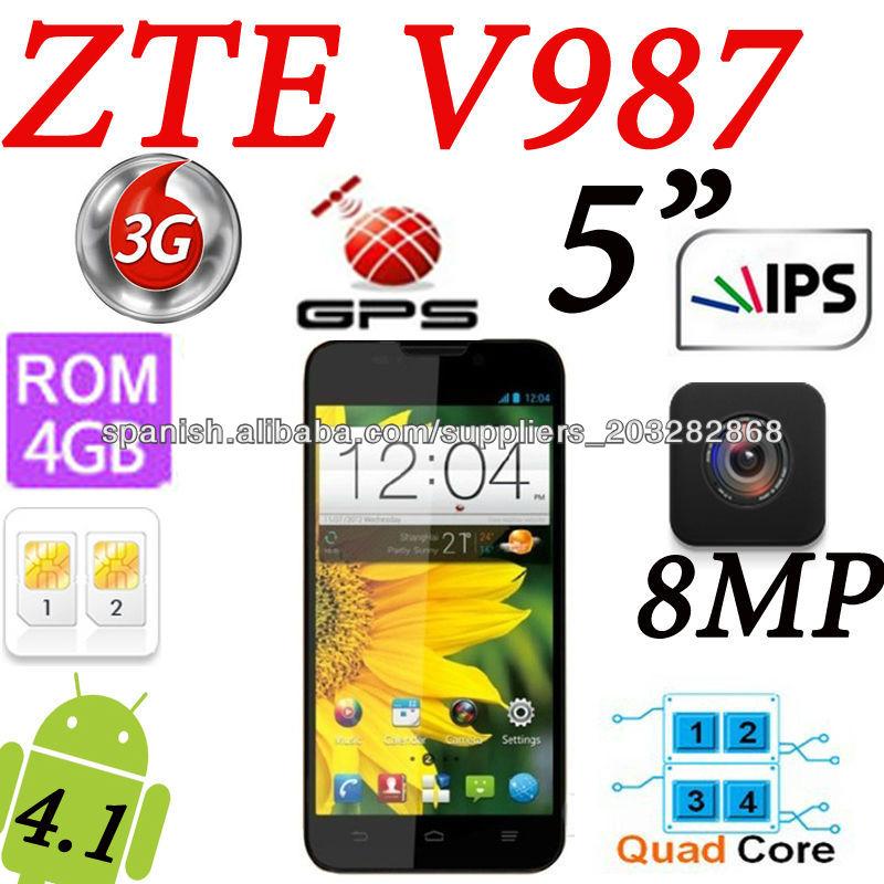 ZTE V987 Android 4.1/5.0 pulgadas HD IPS de 3G MTK6589 Quad-core 1GB/4GB GPS 8MP teléfono de doble cámara de doble banda blanca