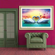 YIWU KAINA PICTURE OF SWAN RESIN DIAMOND PAINTING ON CANVAS BY NUMBER MADE IN CHINA
