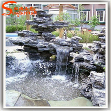 2015 fiberglass product for landscape arificial decorative garden water fountains rocks