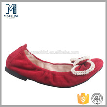 2015 wholesale flat shoes women red suede crystal ornament shoes
