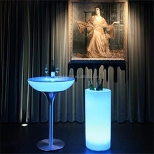 New design outdoor waterproof luxury led glowing cheap bar table with cooler set