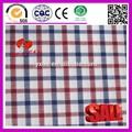 100% de algodón de color rojo azul blanco plaid tela