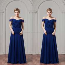 2014 New A Line Off The Shoulder Floor Length Royal Blue Chiffon Party Hijab Evening Dress for Fat Women(MN009)